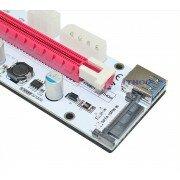 Райзер PCI-E 1X-16X УНИВЕРСАЛЬНЫЙ (разъёмы molex, sata, 6-pin)