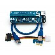 Райзер (riser) PCI-E 1X-16X с разъёмом питания Molex